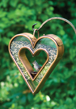heart fly thru venetian bronze bird feeder