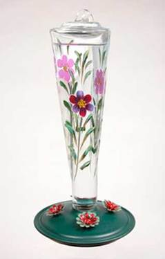 Hand Painted Violet Meadow Glass Hummingbird Feeder