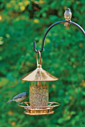 classic perch polished copper bird feeder