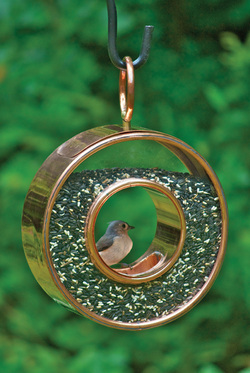 fly thru polished copper bird seed feeder